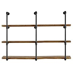 "Introduction: 3PC, 42"" high, 4 Tier, about 11 "" between each tier (excluding tees, elbows); depth 12"" (without screw position,and Flange combined to Wall); recommended to place the board less than or equal to 12 Inch width; 1"" pipe diameter; width ca..."
