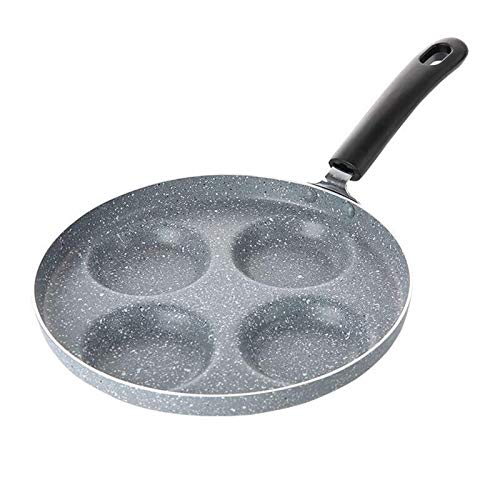 zyl Maifan Stone Olla Antiadherente Olla de Tortilla de Cuatro Orificios Olla de Bola de Masa de Huevo Olla de freír multifunción Cacerola (Color: Gris Tamaño: 24 cm * 20 cm)