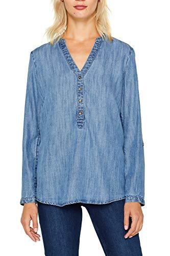 edc by ESPRIT Damen 089Cc1F005 Bluse, 902/BLUE MEDIUM WASH, XS