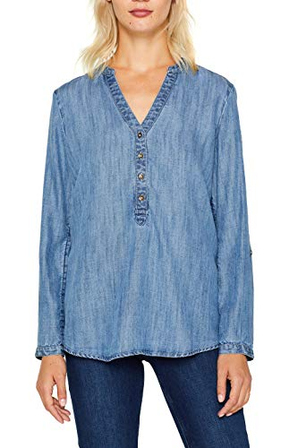edc by ESPRIT Damen 089Cc1F005 Bluse, Blau (Blue Medium Wash 902), (Herstellergröße: M)