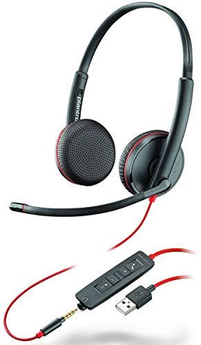 Plantronics Stereo-Headset 'Blackwire C3225' mit USB-A & 3,5 mm Anschluss, Noise Cancelling, Soundguard und flexiblem Mikrofonarm, Schwarz
