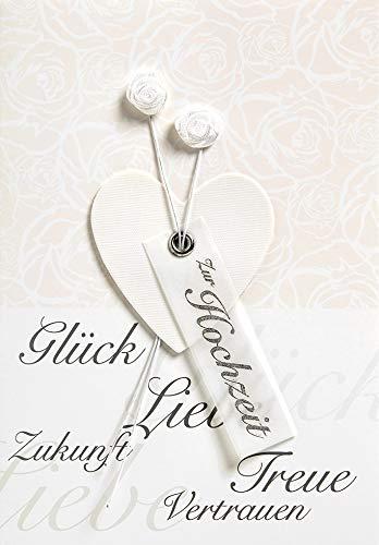 Hochzeitskarte Lifestyle - Herz, Stoffblume - 11,6 x 16,6 cm