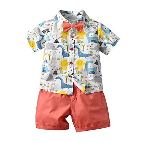 Bebé Niño Traje de 2 Piezas Conjunto Top Camisa de Manga Corta Pantalón Corto Camiseta con Estampado Infantil Ropa Verano de Playa para Vacaciones (Dinosaurio 2, 5-6 Años)
