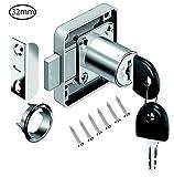 VOLGA - Cerradura para Muebles con Llave para cajones y armarios, de Acero niquelado, Mandril: 22 mm, 26 mm, 32 mm