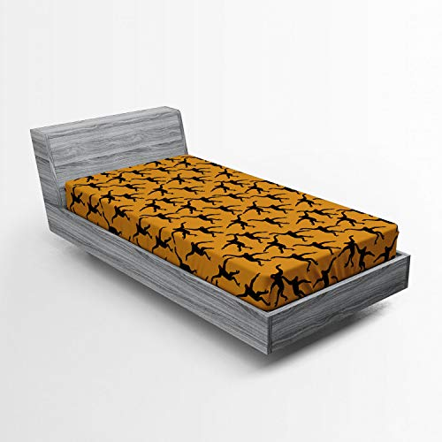 Ambesonne Gorilla Fitted Sheet, Repeating Pattern of Jumping Monkey Silhouettes, Soft Decorative Fabric Bedding All-Round Elastic Pocket, Twin Size, Orange Grey