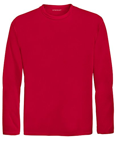 DRI-EQUIP Youth Long Sleeve Moisture Wicking Athletic Shirts. Youth Sizes XS-XL, True Red, Large
