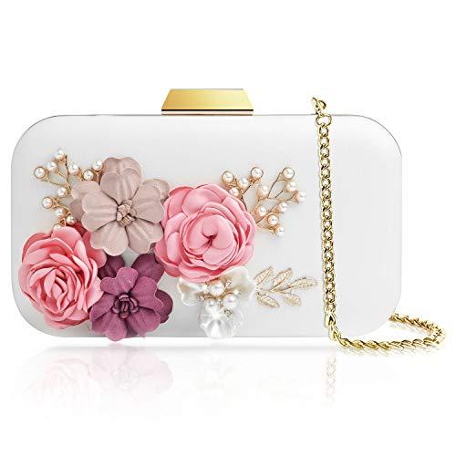 WATACHE Frauen Blume Kupplungen Abendtaschen Handtaschen Perle Perlen Hochzeit Clutch Geldbörse für Prom Weihnachtsfeier Hochzeit Braut (Blume#2)