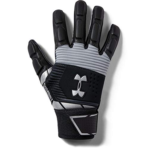 Under Armour Boys' Combat Yth Football Gloves , Black (001)/White , Youth Large