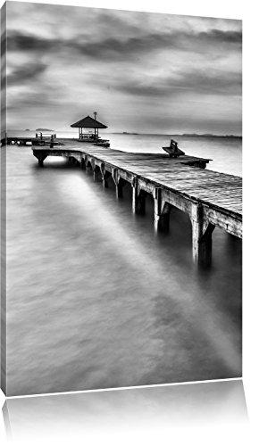 Pier met klein paviljoenFoto Canvas | Maat: 120x80 cm | Wanddecoraties | Kunstdruk | Volledig gemonteerd