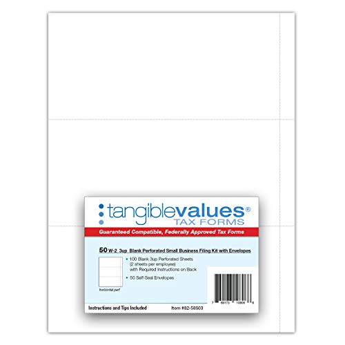 W-2 Blank 3-up Tax Forms 2019 - Tangibles Values Perforated Small Business Filing Kit with Envelopes - Accounting Software Compatible, 50 Pack Photo #2