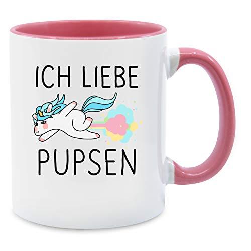 Shirtracer Statement Tasse - Ich Liebe pupsen Einhorn - Unisize - Rosa - Tasse Einhorn - Q9061 - Kaffee-Tasse inkl. Geschenk-Verpackung