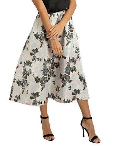 APART eleganter Damen Rock, mit Blüten-Muster, Farbton: Puder-Schwarz, klassischer weiter Schnitt, Puder-Multicolor, 44