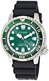 Citizen Men's Promaster Dive Watch with Eco-Drive Technology in Stainless Steel Green Dial, Black Rubber Strap, BN0158-00X