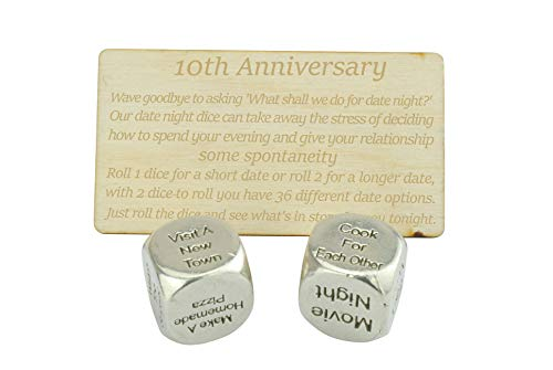 10th anniversary gifts tin date night dice