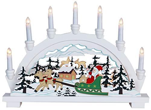 Christmas Star 270-59 German, con 10 lampadine chiare Babbo Natale in slitta, colore: bianco, dimensioni 33 x 45 cm, legno
