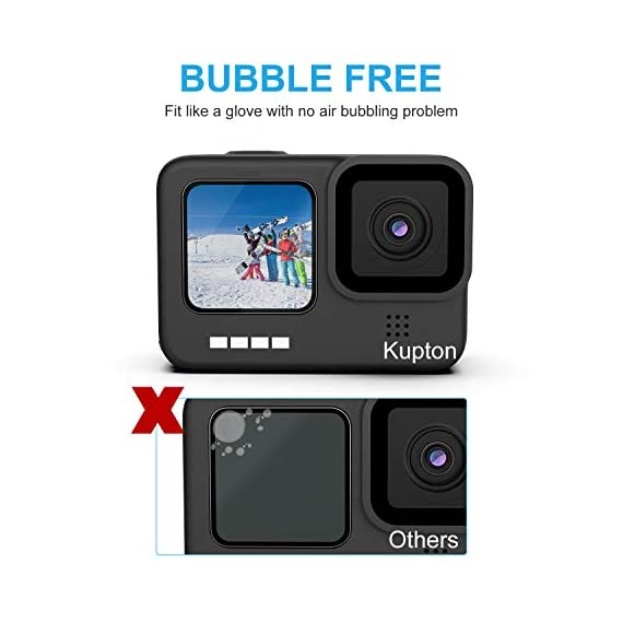 Kupton Screen Protector 6 Pcs Compatible with GoPro Hero 9 Black, Ultra Clear Tempered Glass Screen Protector, Tempered… 5 【Professional Design】Specialized round-edged design, Kupton screen protector with strong adhesion provides full protection for your screen and lens, leaving zero bubble after installation. (NOT COMPATIBLE WITH MEDIA MOD DUE TO FULL COVERAGE.) 【0.3mm Thickness】Made of anti-fingerprint and anti-reflective ultra-thin tempered glass, Kupton screen protectors bring you HD clear viewing, and maintain the original touch experience. 【9H Hardness】Featuring 9H hardness along with laser cut size, this tempered glass screen protector set safeguards your camera from scratches, scuffs, dust and bumps.