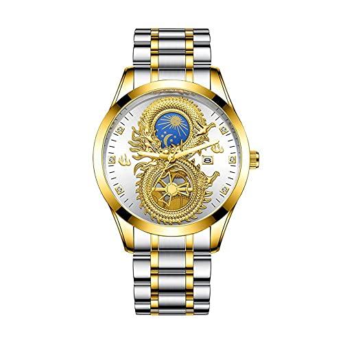Herren vergoldete Drachenuhren Coole leuchtende Mondsterne Kalender Dragon Business Casual Armbanduhr Wasserdichte analoge Quarzuhr Geburtstag Hochzeitsgeschenke
