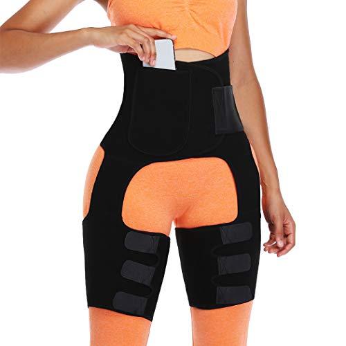 Joyshaper Waist Thigh Trimmer für Damen Bauchweggürtel Taille Trimmer Taillenmieder Gürtel Taillengürtel Butt Lifter (Schwarz, Medium)