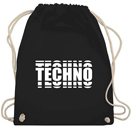 Festival Turnbeutel - Techno in Grafischem Muster - Unisize - Schwarz - techno bag - WM110 - Turnbeutel und Stoffbeutel aus Baumwolle