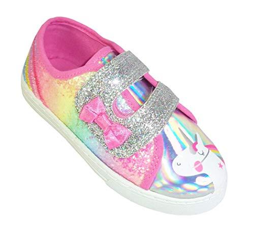 Zapatillas de unicornio con purpurina brillante para niñas jóvenes, color rosa, color Rosa, talla 25 EU