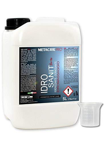 Metacril Idro Sanit Forte 5 L + Doseur dégradé. Désinfectant et désinfectant pour hydromassage (Teuco, Albatros, etc.)