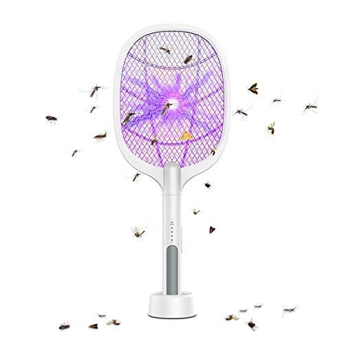 MroTech Raqueta Mosquitos Electrica Mata Mosquito Electrico USB Recargable Matamoscas Antimosquitos Uso Exterior Interior Matar Moscas Otros Insectos Voladores Fly Killer Zapper Swatter con Lampara