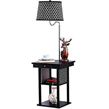 Brightech Madison - Mid Century Modern Nightstand, Alexa Compatible Light, Shelves & USB Port Combination - Bedside Table with LED Floor Lamp Attached - End Table for Living Room Sofas - Black