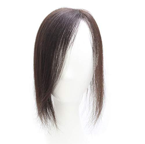 Haarteil aus Echthaar, zum Anklipsen, 28 cm, Mono-Topper, für dünner werdendes Haar, Seitenscheitel