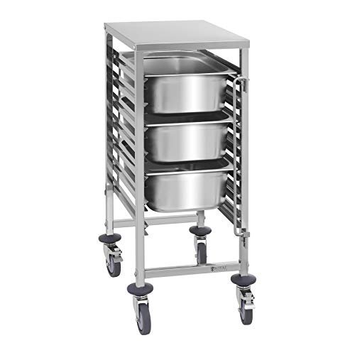 Royal Catering Tablettwagen Küchenwagen Abräumwagen Rollwagen RCTW 7 GN1/1 (Aufnahmekapazität 7 GN-Behälter, Belastbarkeit 50 kg, vertikale Behältersicherungen, Edelstahl)