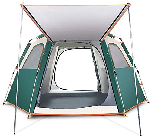 LAZ Double Doors Automatic Tent for 5-8 Person Pop Up Waterproof Tent for Family Camping,Fishing, Picnic, Hiking, Travel, UV Protection Thickened Instant Tent (Color : Green)