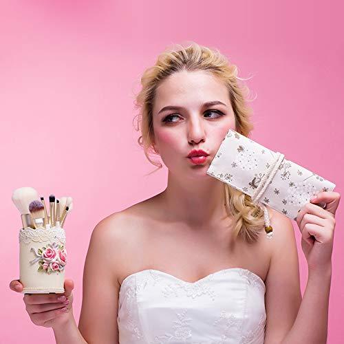 XIUNI 9pcs Makeup Brush Kit,Hair Eye Eyeshadow Eyebrow Eyeliner Powder Foundation Contour Face Lip Makeup Brushes Sets Best Gift for Women Girls,Bucket+Bag+Brush