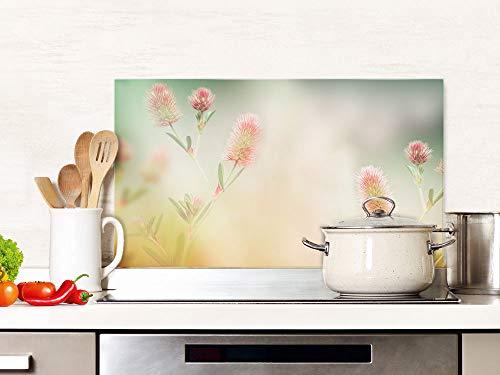 Spritzschutz Küche Glas Dezente Blumen, Küchenrückwand Herd, Glasplatte / 100x50cm