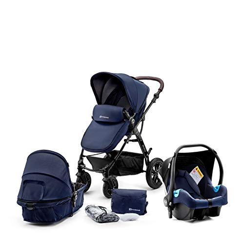 Kinderkraft Pram 3 in 1 Set MOOV, Travel System, Baby Pushchair, Buggy, Foldable, with Infant Car Seat, Carrycot, Accessories, Rain Cover, Footmuff, for Newborn, from Birth to 3 Years, Navy