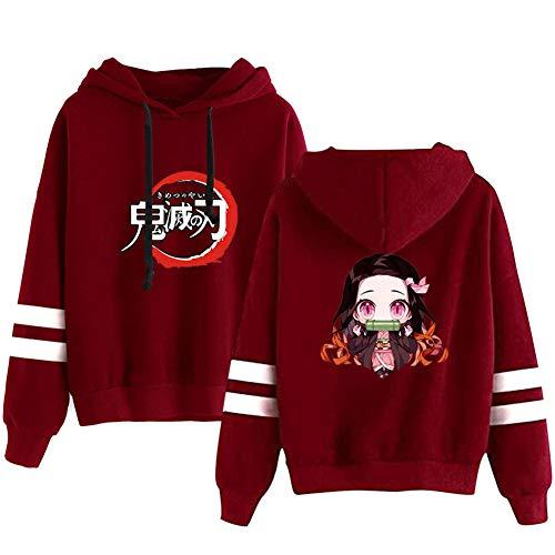 Demon Slayer 3D Animado Impreso Grueso Jersey Sudadera con Capucha Top, Mujeres Fleece con Capucha de Manga Larga Chaqueta de la Capa del Traje,Rojo,XL