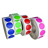 Royal Green Circle Dots Stickers Label Rolls in 4 Assorted Colors - Round Colored Label St...