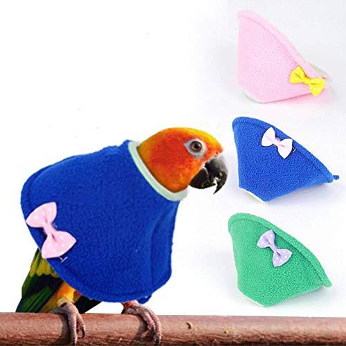 ABCD 3 Collares Isabelinos para Pájaros, Collar De Cono De Loro Ajustable, Protectores De Plumas De Loro, Protección Posquirúrgica Anti-mordida para Heridas(XS, Blue+ Green + Pink)