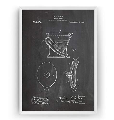 Wasserklosett 1909 Patent Poster - Water Closet Drunken Print Vintage Jahrgang Bad Badezimmer Poster Toilette WC Art Zeichnungen Kunst - Rahmen nicht enthalten