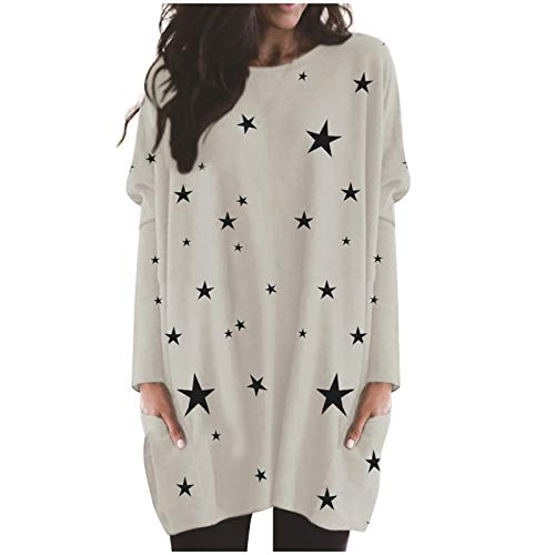 TOPSELD Women's Long Sweatshirt Pullovers Ladies Long Sleeve Plain Hooded Jumper Dresses Loose Tie Dyed Loose Fashion Long Tops S-5XL(White,XL)