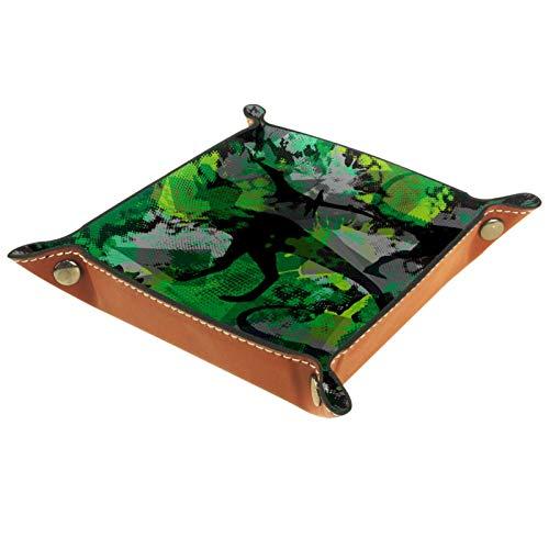 LynnsGraceland Bandeja de Cuero - Organizador - Dinosaurio Camo Verde - Práctica Caja de Almacenamiento para Carteras,Relojes,Llaves,Monedas,Teléfonos Celulares y Equipos de Oficina