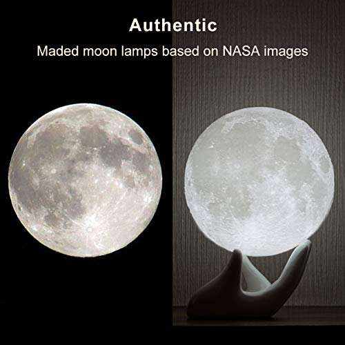 Mydethun Moon Lamp Moon Light Night Light for Kids Gift for Women USB Charging and Touch Control Brightness 3D Printed Warm and Cool White Lunar Lamp(3.5In Moon lamp with Stand)