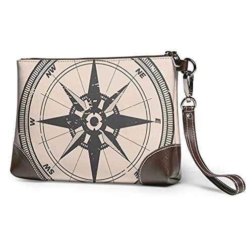 mengmeng Vintage Compass 2 Bolso de pulsera de cuero genuino Bolsos de pulsera para las mujeres bolso de embrague bolsos con correa de muñeca y cierre de cremallera