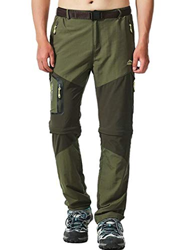 Men's Waterproof Quick Dry Convertible Pants Army Green, Army Green, Size 34