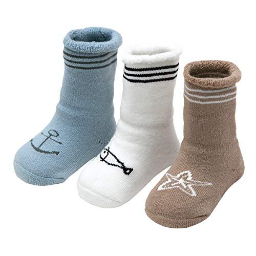 ANIMQUE ANIMQUE Baby Winter Socken Dicke Cartoon Tiere 6-12 Monate Neugeborene Kleinkind Jungen Mädchen Baumwolle Söckchen Warm 3er Pack (KT-B)