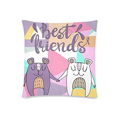 HZLM Funny Bears with Best Friends - Funda de almohada decorativa para cojín (45 x 45 cm), diseño de oso con texto 'Best Friends'