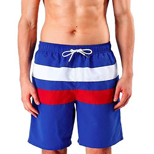 Katenyl Pantalones Cortos con Parche de Color Patchwork para Hombre Tendencia a la Moda Todo-fósforo Cómodo Simple Ejercicio al Aire Libre Playa Pantalones Cortos 3XL