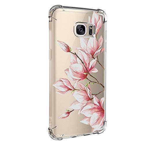 Jeack Hülle kompatibel mit Samsung Galaxy S7 hülle, Floral Motiv Handyhülle Slim Silikon Case Cover Schutzhülle Dünn Durchsichtig Handy-Tasche Back Cover Transparent Bumper für Galaxy S7 (1)