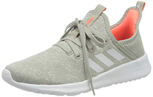 adidas Womens Cloudfoam Pure Sneaker, Metal Grey/Chalk White/Signal Coral, 38 EU