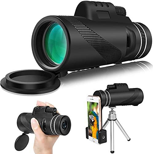 Telescopio monocular Starscope 12x50 de alto rendimiento monocular para adultos y niños HD monocular con soporte para smartphone trípode para observación de aves, camping, senderismo