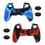 PS5 Controller Skins, Anti-Slip Silicone Protective Cover Case for Playstation 5 DualSense Wireless Controller, 2 Pack with 4 Thumb Grips (Blue/Red)