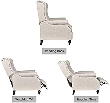 B BAIJIAWEI Recliner Wingback Chair - Tufted Arm Chair Recliner - Massage Recliner Chair with Heat - Fabric Push Back Recline